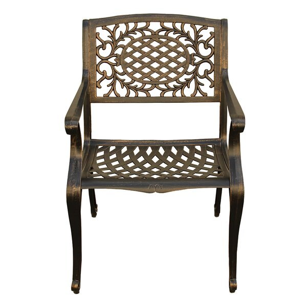 Casavant Ornate Traditional Mesh Lattice Patio Dining Chair by Fleur De Lis Living