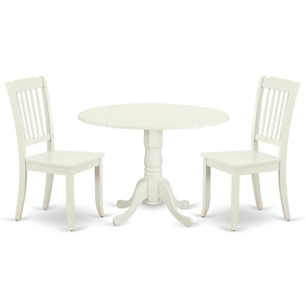 Krohn 3 Piece Drop Leaf Solid Wood Dining Set by August Grove August Grove