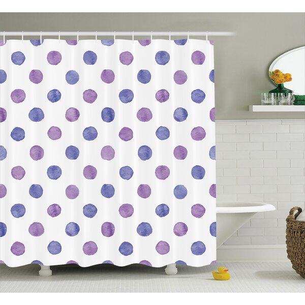 Rogelio Purple Watercolor Paint Nostalgic Polka Dot Pattern Nursery Room Decor Classic Print Shower Curtain by Viv + Rae
