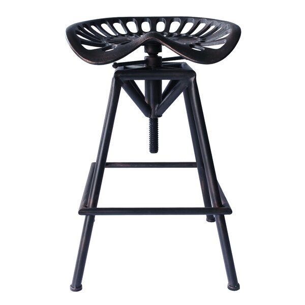Hoggan Adjustable Height Swivel Bar Stool by Williston Forge