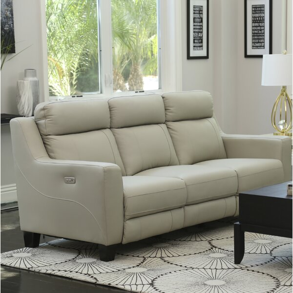 Florham Top Grain Leather Reclining Sofa by Latitude Run