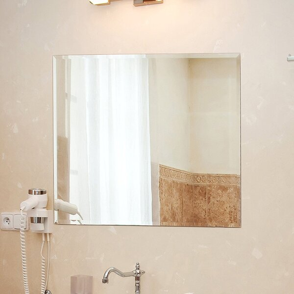 Square Beveled Polished Frameless Wall Mirror by F