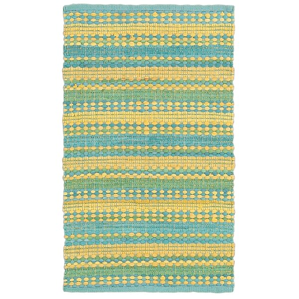 Dhurry Hand-Tufted Cotton Blue & Yellow Area Rug by LR Resources