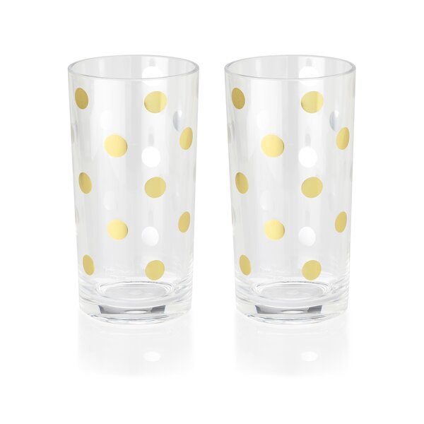 Raise a Glass 16 oz. Acrylic Highball Set, Gold Dots (Set of 2) by kate spade new york