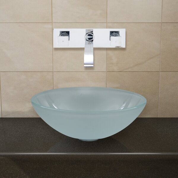 Glass Circular Vessel Bathroom Sink with Faucet by VIGO