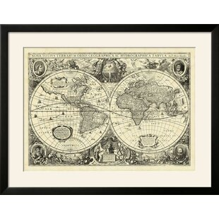 Vintage world map wayfair vintage world map framed graphic art print gumiabroncs Image collections