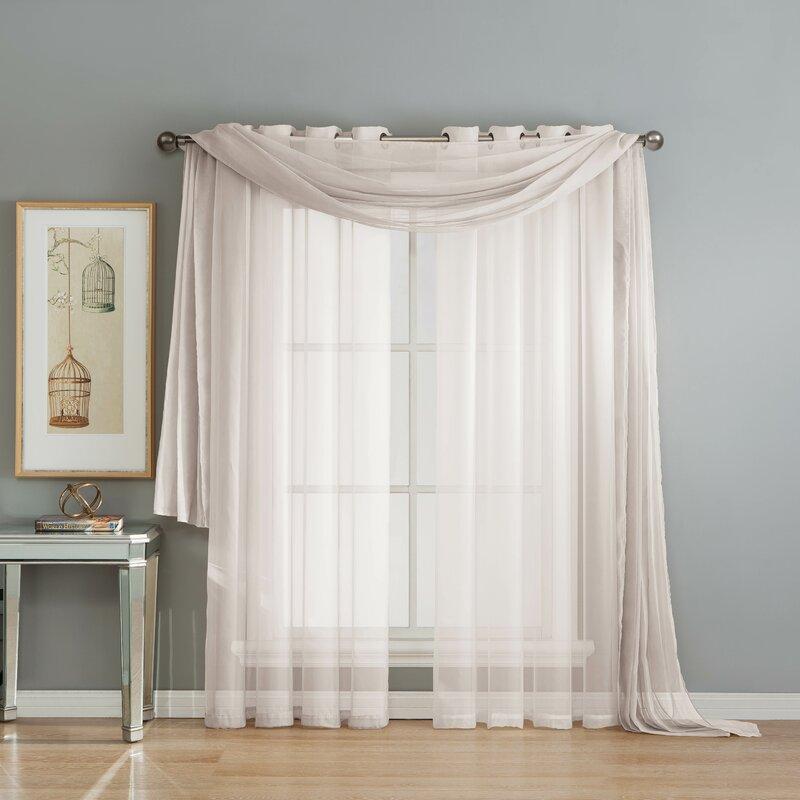 Warm Home Designs Rose Pink Window Scarves Sheer Light: Window Elements Diamond Solid Sheer Single Window Scarf