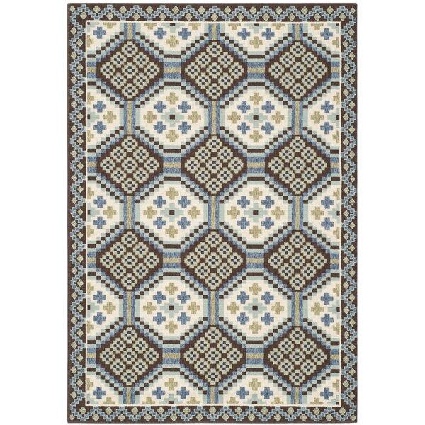 Centeno Geometric Blue/Chocolate Indoor / Outdoor Area Rug
