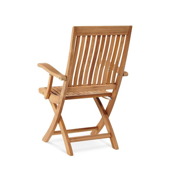 Godfrey Folding Teak Patio Dining Chair by Breakwater Bay