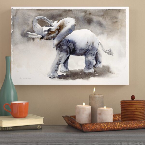 Elephant Study Painting Print on Wrapped Canvas by World Menagerie