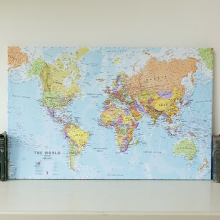 Framed world map wayfair political world map graphic art print on canvas gumiabroncs Gallery