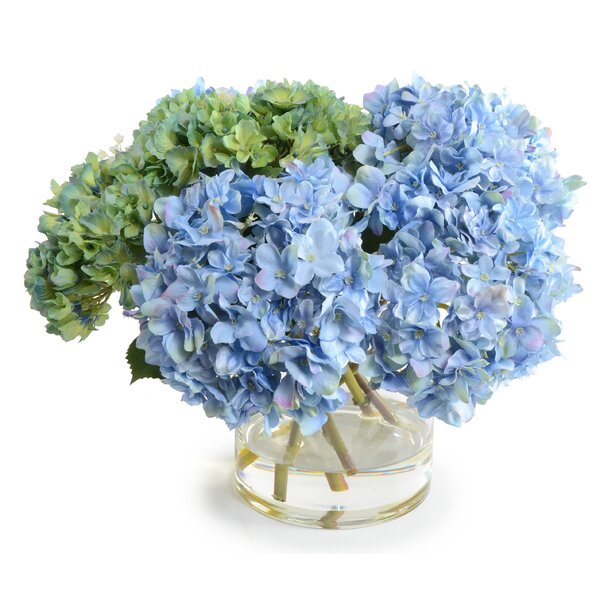 Faux Hydrangea Floral Arrangement in Vase by New Growth Designs