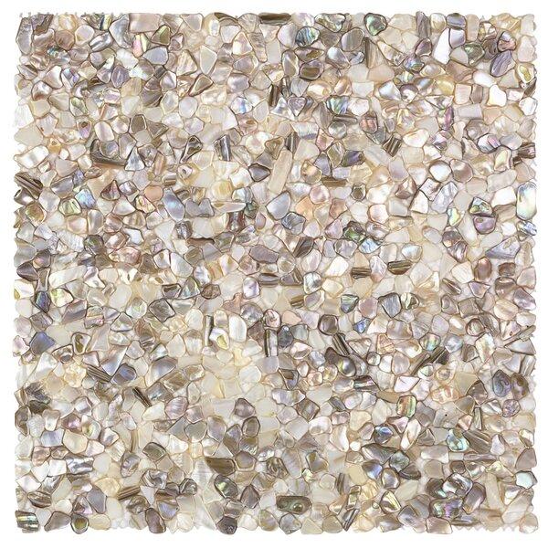 Noburu Random Sized Glass Pearl Shell Mosaic Tile in Silver by Splashback Tile