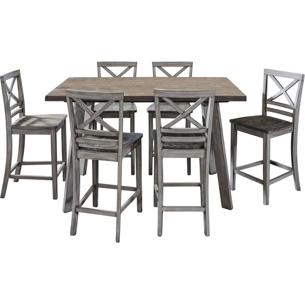 Crum 7 Piece Counter Height Wood Dining Set by August Grove