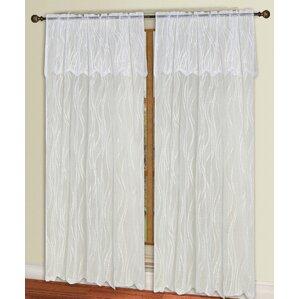 Carmen Lace Geometric Semi Sheer Rod Pocket Single Curtain Panel