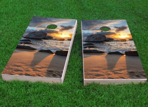 Sunset on the Beach Cornhole Game (Set of 2) by Custom Cornhole Boards