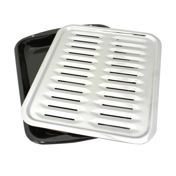 2 Piece Heavy Duty Porcelain Full Size Broiler Pan Set by Range Kleen