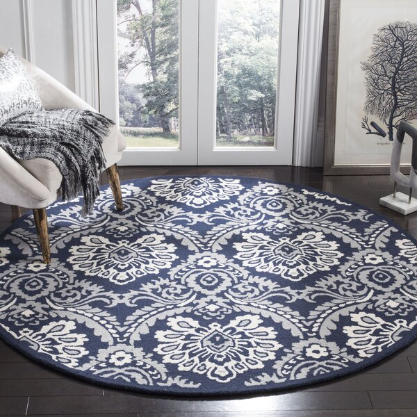 Bevis Hand Tufted Wool Navy Area Rug by Darby Home Co
