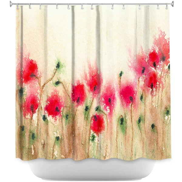 DiaNocheDesigns Field Of Poppies Shower Curtain