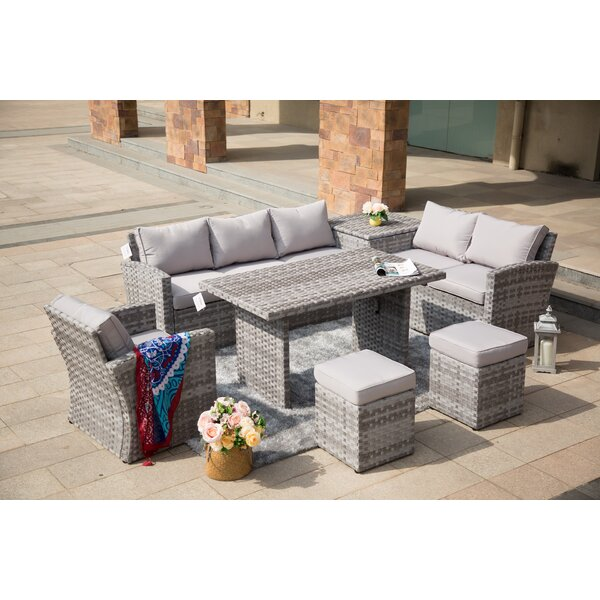 Michelson 7 Piece Rattan Lounge Dining with Cushions by Latitude Run