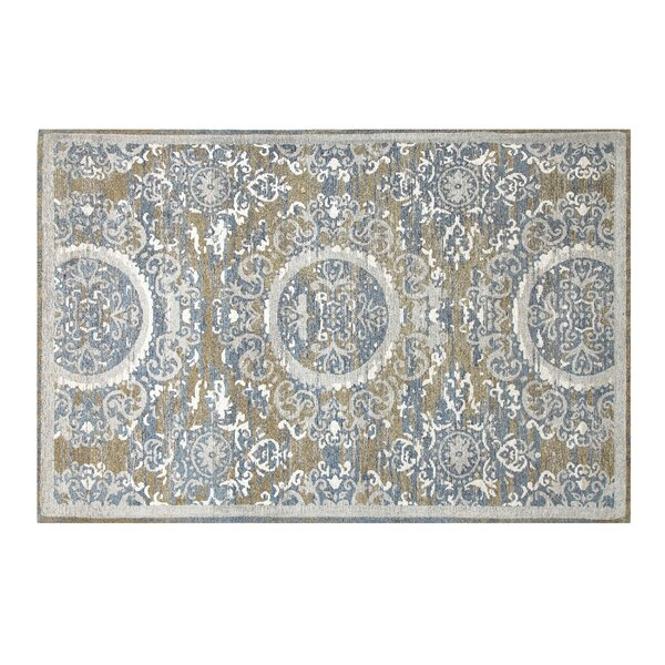 Sunburst Chenille Grey/White/Pigeon Blue Area Rug by Chesapeake Merchandising Inc.