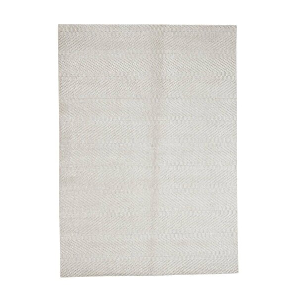 One-of-a-Kind Halpin Oriental Hand-Knotted Beige Area Rug by Bungalow Rose