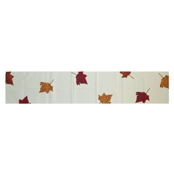 Dancing Leaves Floral Print Table Runner by Three Posts