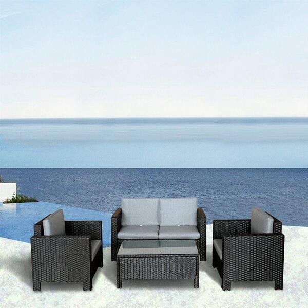 Ezra 4 Piece Rattan Deep Seating Group with Cushions by Bayou Breeze