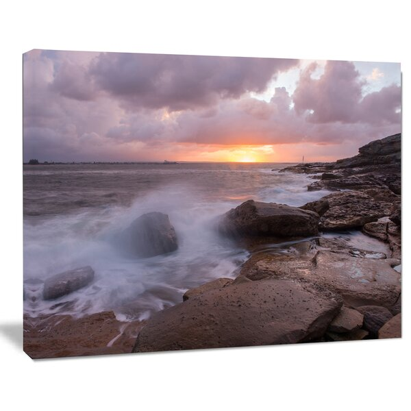 Stormy Waves in Beautiful Australia Beach Large Seashore Photographic Print on Wrapped Canvas by Design Art