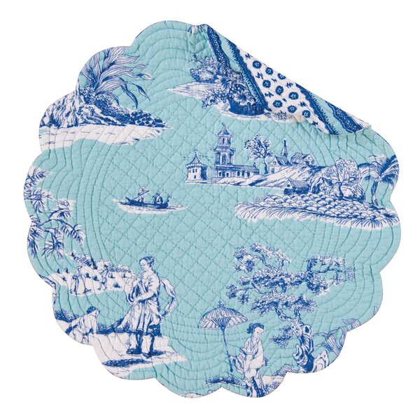 Hampstead Toile Reversible Round Quilt Placemat (Set of 6) by C&F Home
