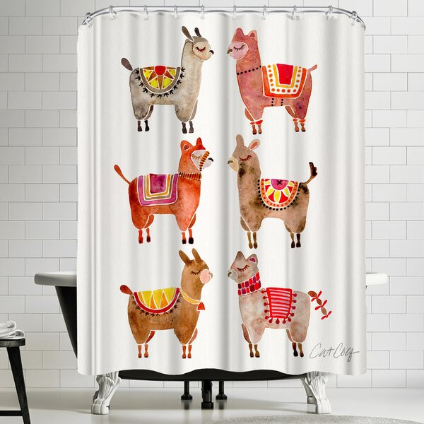 Alpacas Shower Curtain by East Urban Home