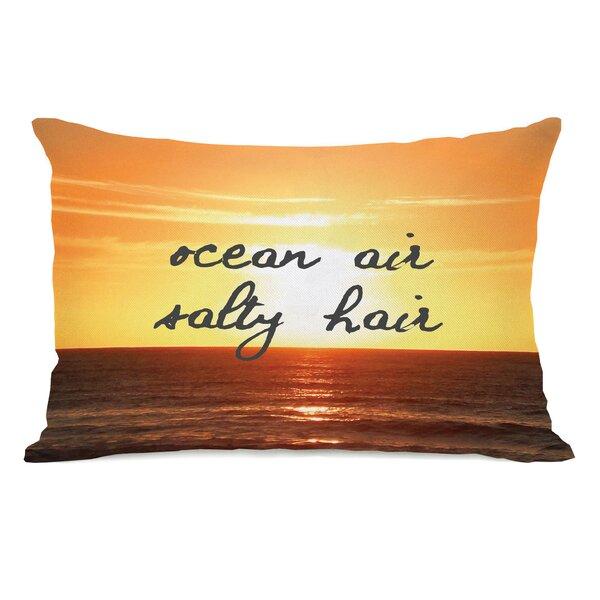 Ocean Air, Salty Hair Script Lumbar Pillow by One Bella Casa