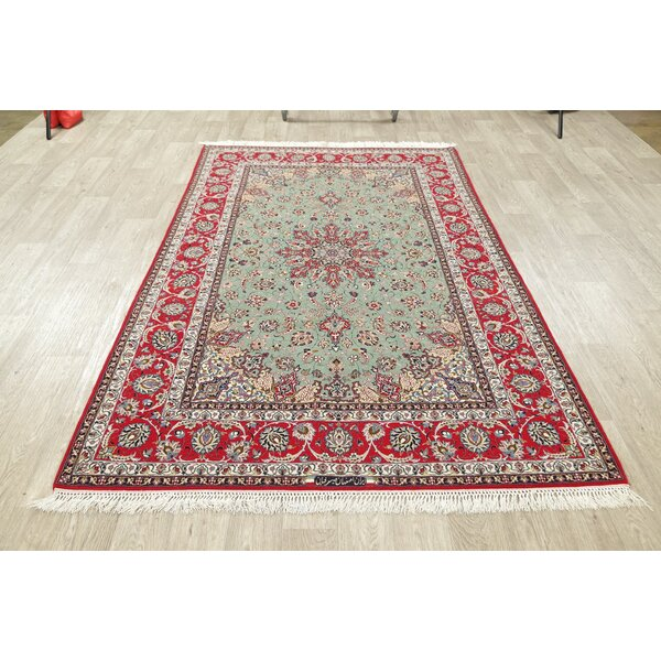 One-of-a-Kind Hand-Knotted 2010s Isfahan Green/Red 5'1 x 8'1 Wool Area Rug