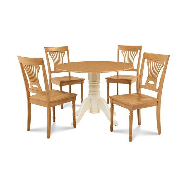 Derek 5 Piece Drop Leaf Solid Wood Dining Set by Millwood Pines