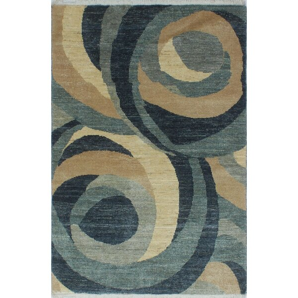 One-of-a-Kind Acree Modern Hand-Knotted Ivory Area Rug by Isabelline