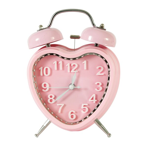 Vintage-Inspired Sweet Heart Table Top Alarm Clock by Adeco Trading