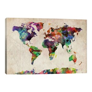 'World Map Urba Watercolor II' by Michael Tompsett Graphic Art Print by iCanvas