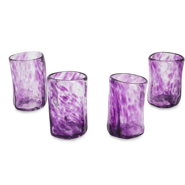 Lilac Mist 3 oz. Shot Glass (Set of 4) by Novica