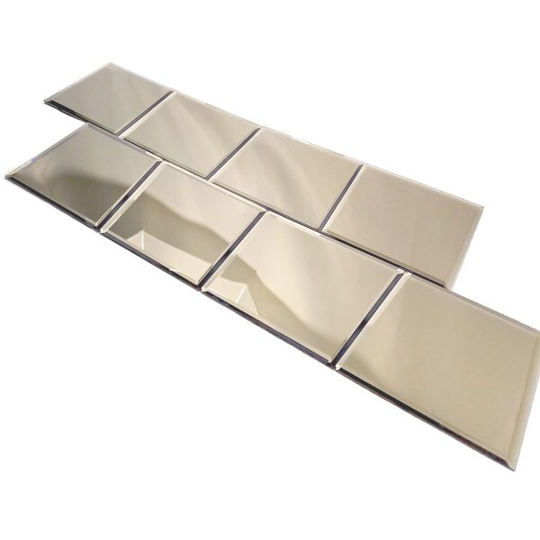 Echo 8 x 8 Beveled Mirror Glass Tile in High Gloss Gold by Abolos