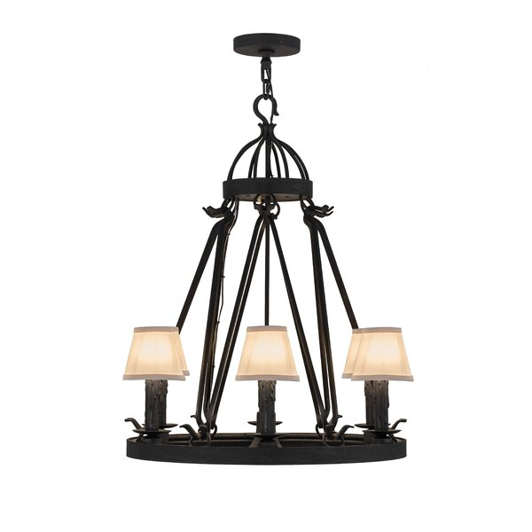 7 - Light Wagon Wheel Chandelier by Williston Forge Williston Forge