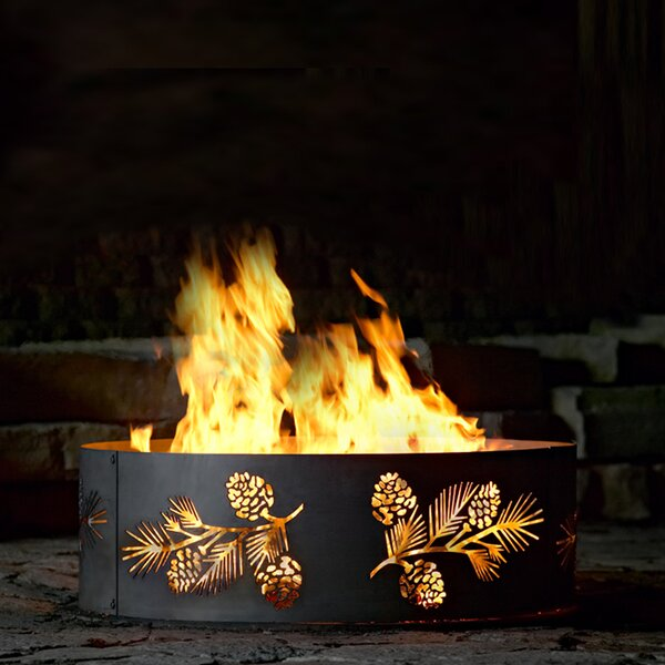 Pine and Bough Steel Wood Burning Fire ring by P & D Metal Works