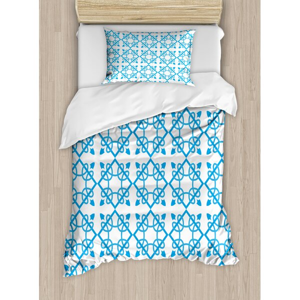 Irish Antique Tile with Delicate Royal Floral Details and Squares Baroque Flourish Duvet Set by Ambesonne
