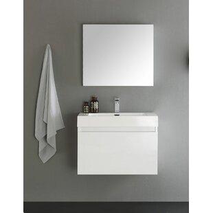 Reviews Senza 30 Mezzo Single Wall Mounted Modern Bathroom Vanity with Medicine Cabinet ByFresca