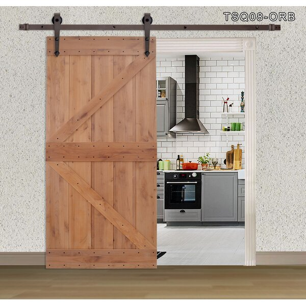 Primed Sliding Solid Wood Panelled Sliding Interior Barn Door by Calhome