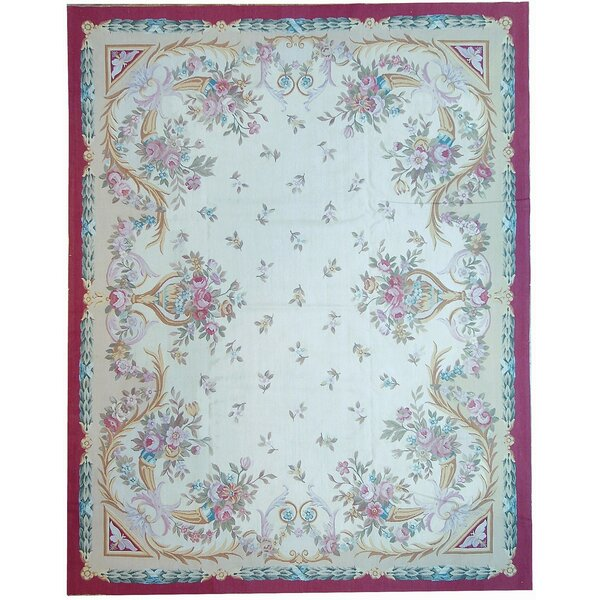 One-of-a-Kind Aubusson Hand-Woven Wool Ivory/Red/Blue Area Rug by Pasargad