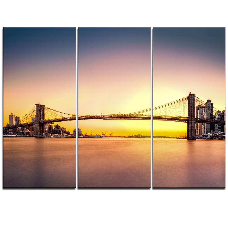 DesignArt Brooklyn Bridge Panorama Yellow Sky - 3 Piece Graphic Art ...