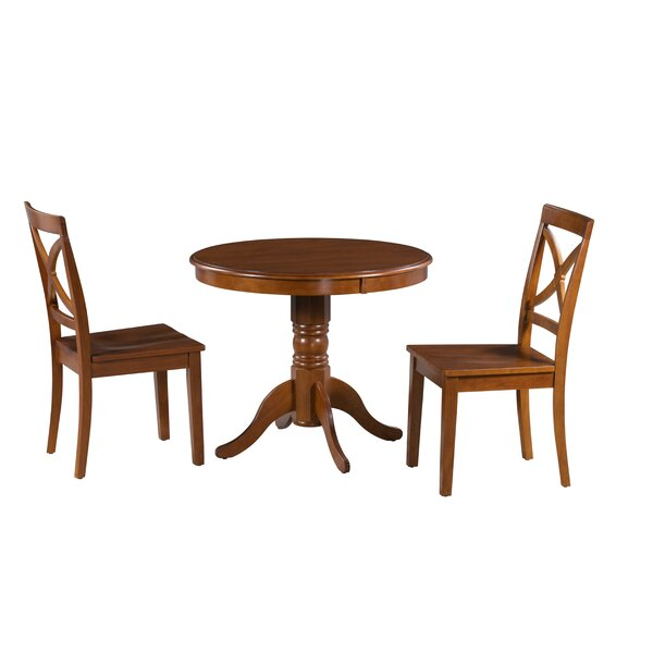 Cedarville 3 Piece Rubber Solid Wood Dining Set by Alcott Hill Alcott Hill
