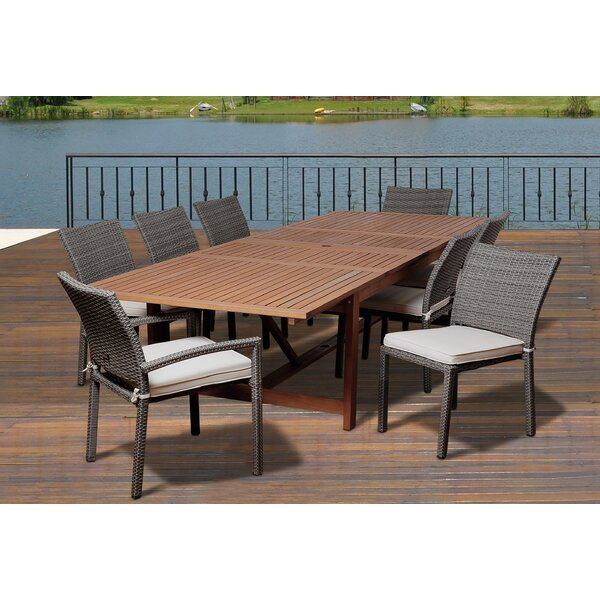 Carnaff 9 Piece Wood Dining Set with Cushions by Rosecliff Heights