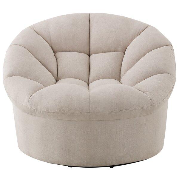 Veroniza Upholstered Swivel 24-inch Barrel Chair by Red Barrel Studio Red Barrel Studio