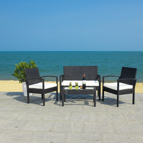 Bassey 4 Piece Rattan Sofa Seating Group with Cushions by Latitude Run
